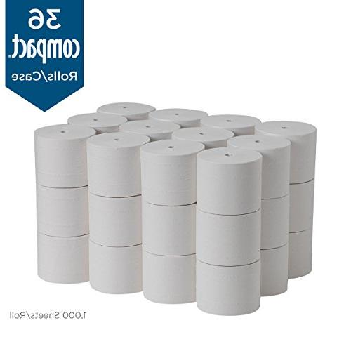 Compact 2-Ply Recycled Toilet PRO 19375, Sheets 36 Rolls Per Case, White