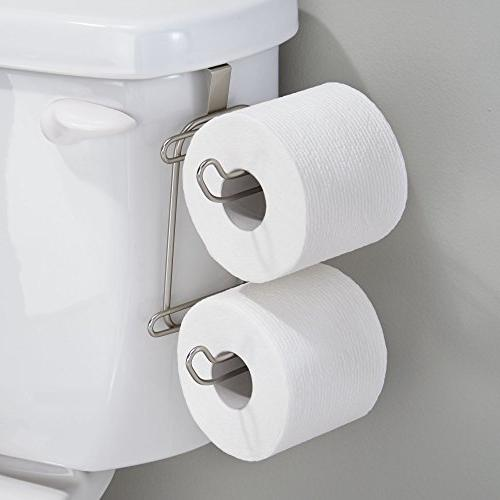 mDesign Metal Compact Over Toilet and Dispenser Storage - Extra Saving Design - Pack Satin