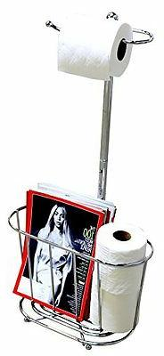 DecoBros Toilet Tissue Paper Roll Holder Stand Plus, Chrome