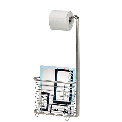 InterDesign Free Standing Toilet and Newspaper and Magazine Rack for - Brushed Stainless