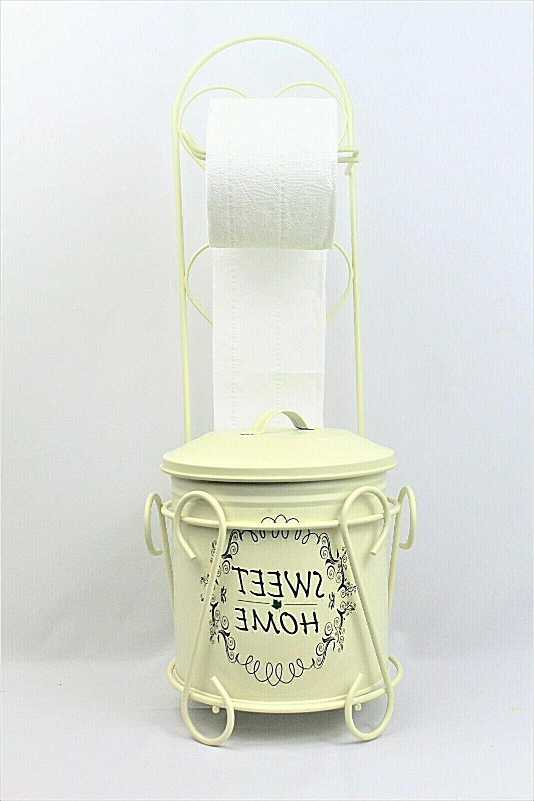 Free Shipping, Vintage Wrought Paper Stand with trash can