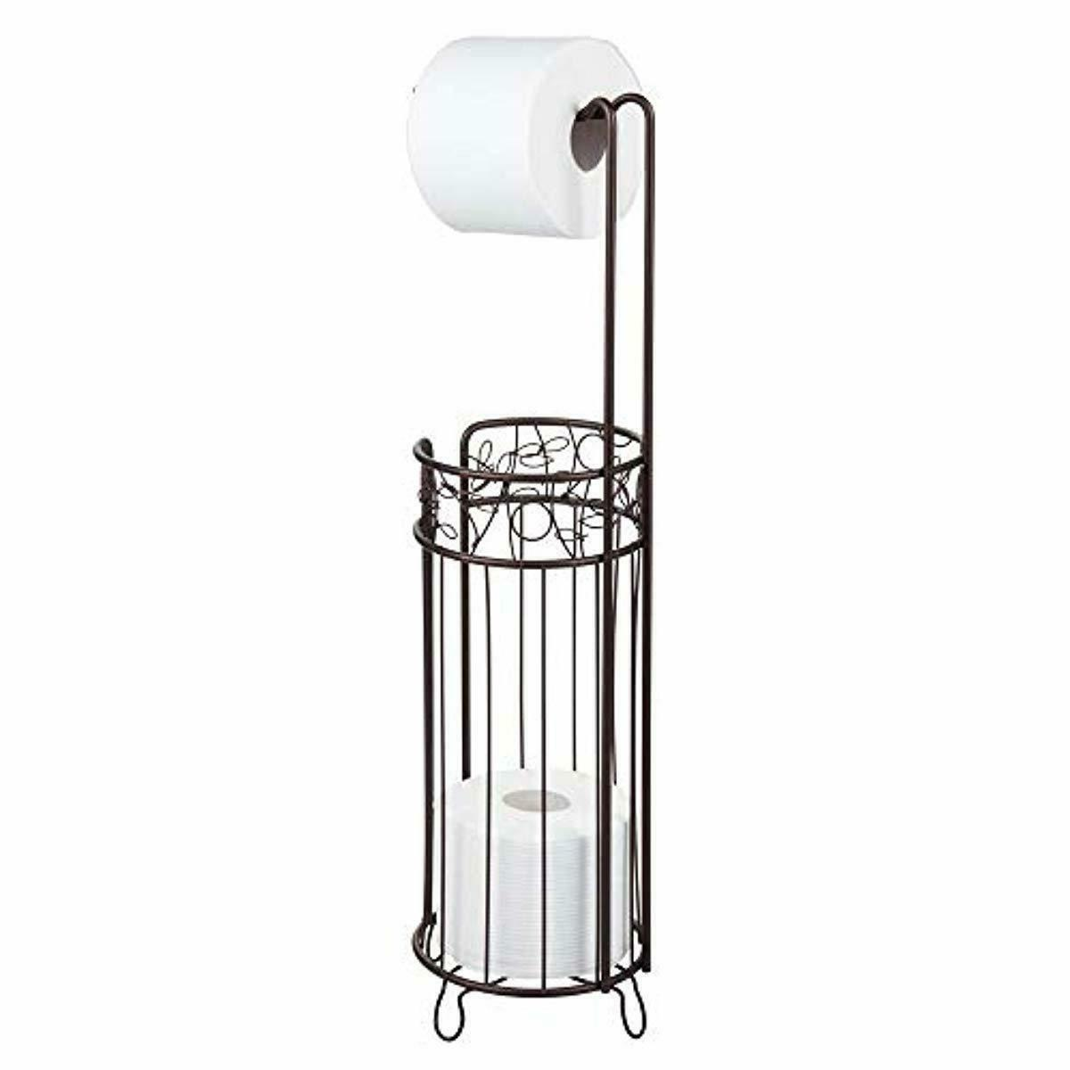 Free Standing Toilet Paper Holder–Dispenser and Spare Roll