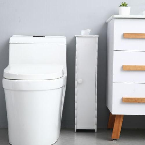 US Toilet Paper Roll Holder Bathroom Storage Cabinet Free Standing 67.5cm