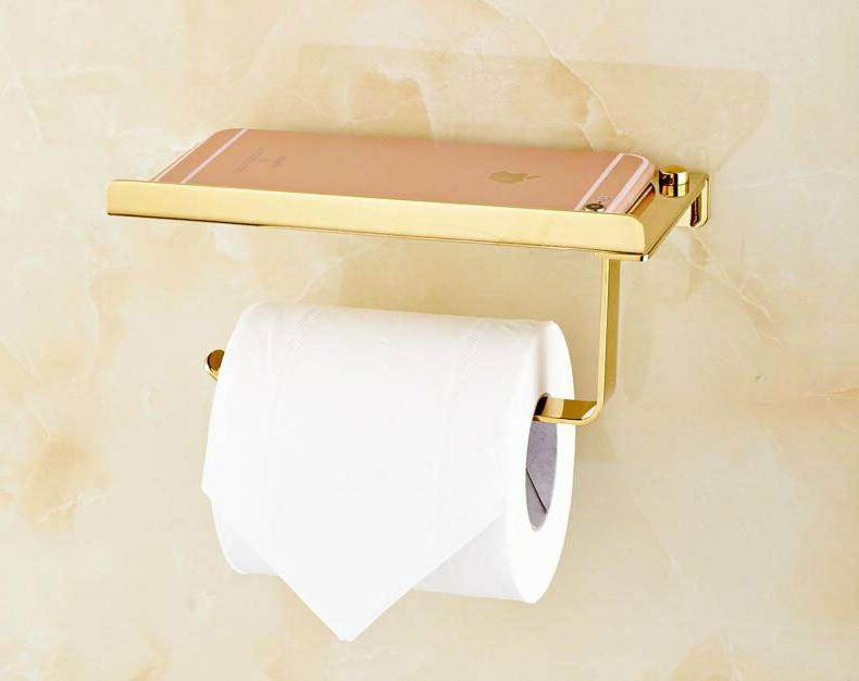 Gold Toilet Paper Mobile Phone Shelf Holders Rack