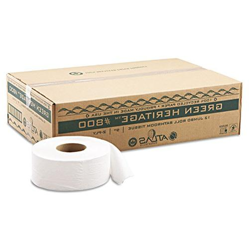 "Green Jumbo Roll Tissue 9""dia 12/Carton"