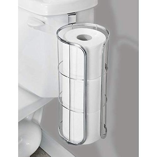 mDesign Modern The Tank Hanging Tissue Paper Roll Holder and Reserve for Bathroom - Stores Extra Rolls, Rolls - Durable Metal Wire -