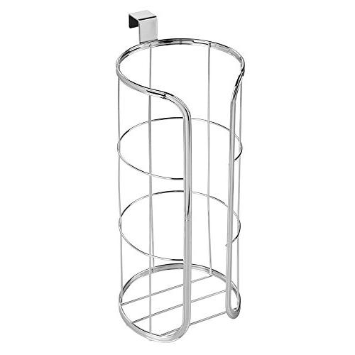mDesign Tank Hanging Toilet Reserve for Storage - Stores Rolls, Holds - Durable Wire - Chrome