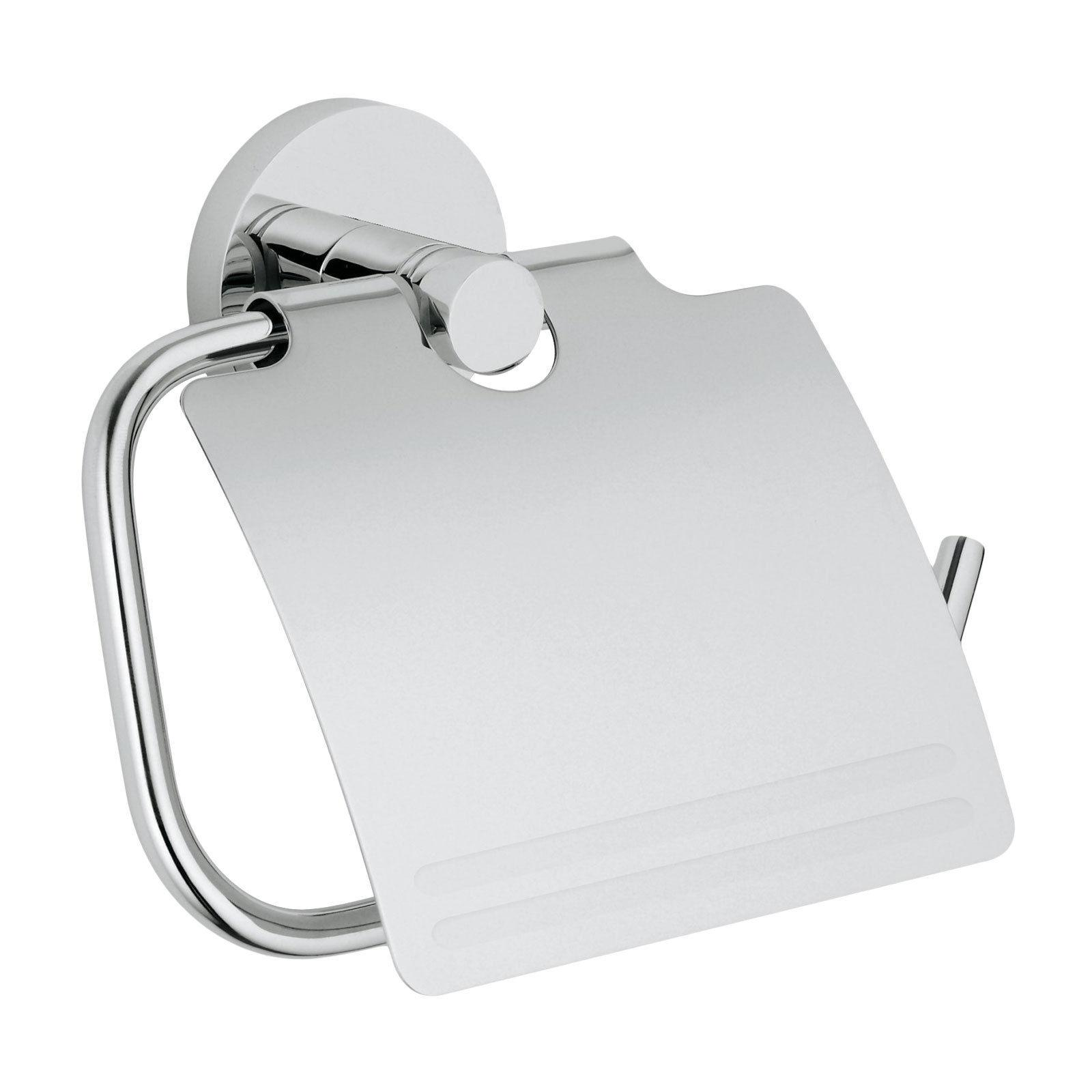 Modern Chrome Euro Toilet Paper Holder with Cover Bath Acces