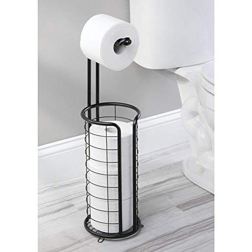 mDesign Modern Toilet Paper Roll Holder Stand and Storage 3 of Toilet Organizing - Holds Mega Rolls - Black