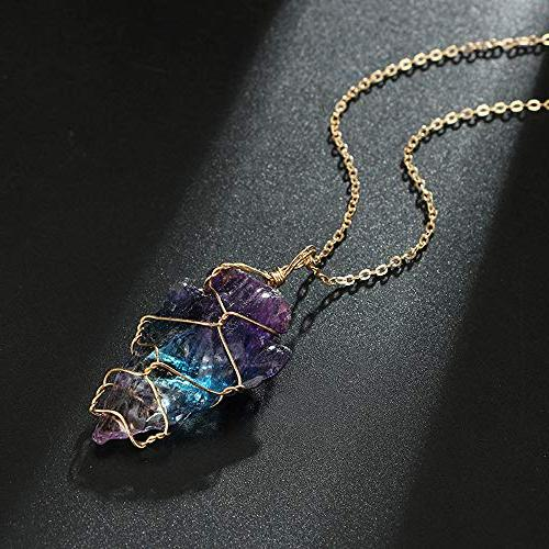 Rainbow Stone Pendant, Elevin Crystal Necklace Plated