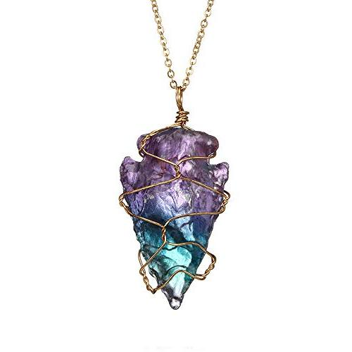 Rainbow Stone Necklace Crystal Rock Plated