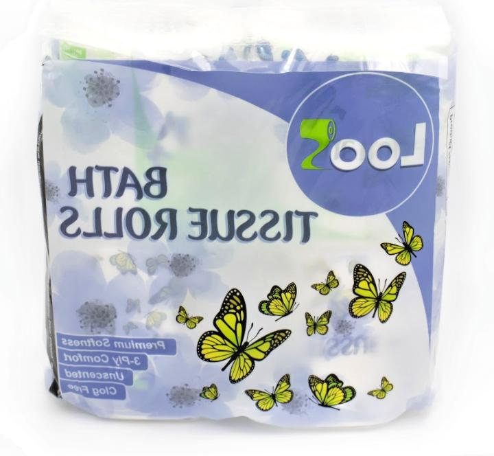 THE LOO PREMIUM 3-PLY TOILET PAPER BATH TISSUE ROLLS FSC CER