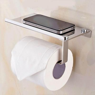 silver toilet paper holder mobile phone storage