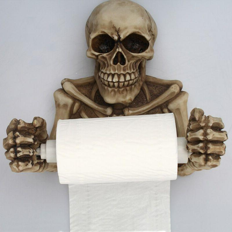 Skull Toilet Paper Towel Roll Holder Wall Mount Bone Dry Ske