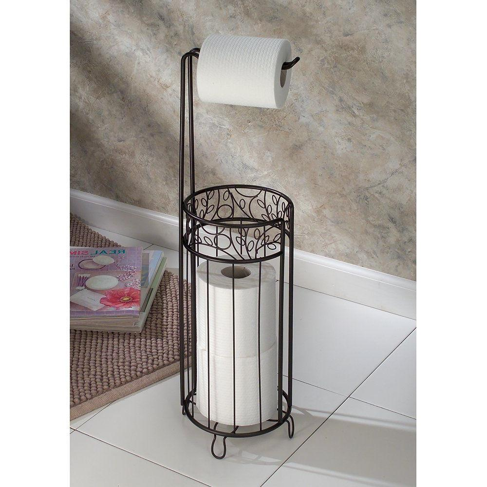 Standing Toilet Tissue Holder Bathroom Paper Roll Storage Di