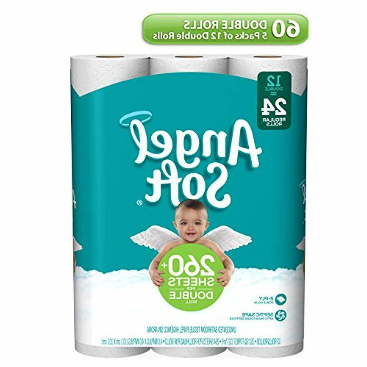 Toilet Paper 60 Double Rolls Bath Tissue 2 Ply Recyclable 12