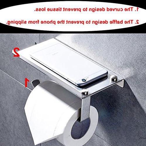 Toilet Holder, Stainless Holder with Mobile Phone Storage Shelf - Wall Mount Wipes Paper Towel Dispenser/Hooks/