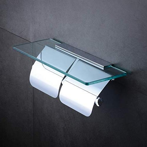 Hiendure Paper Bathroom Paper with Glass Shelf and 2