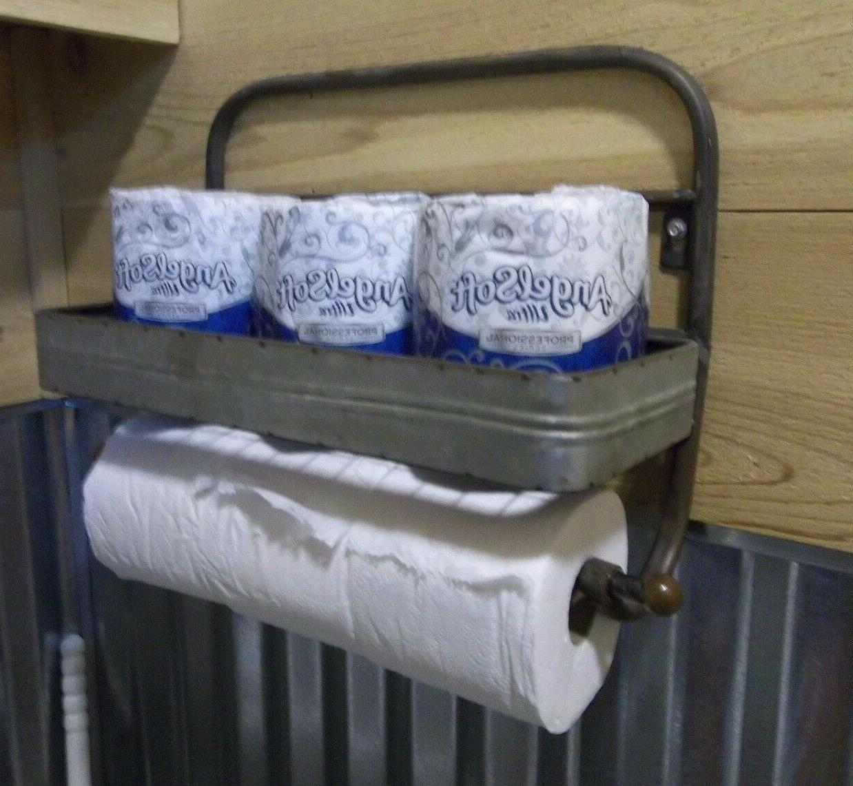 ROLLS Rustic Aged Metal PAPER TOWEL HOLDER