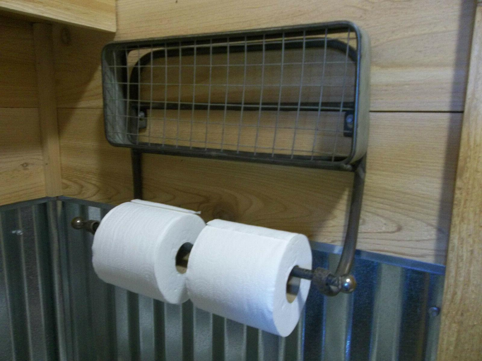 TOILET HOLDER-Hold 6 ROLLS Farmhouse Aged Metal TOWEL HOLDER