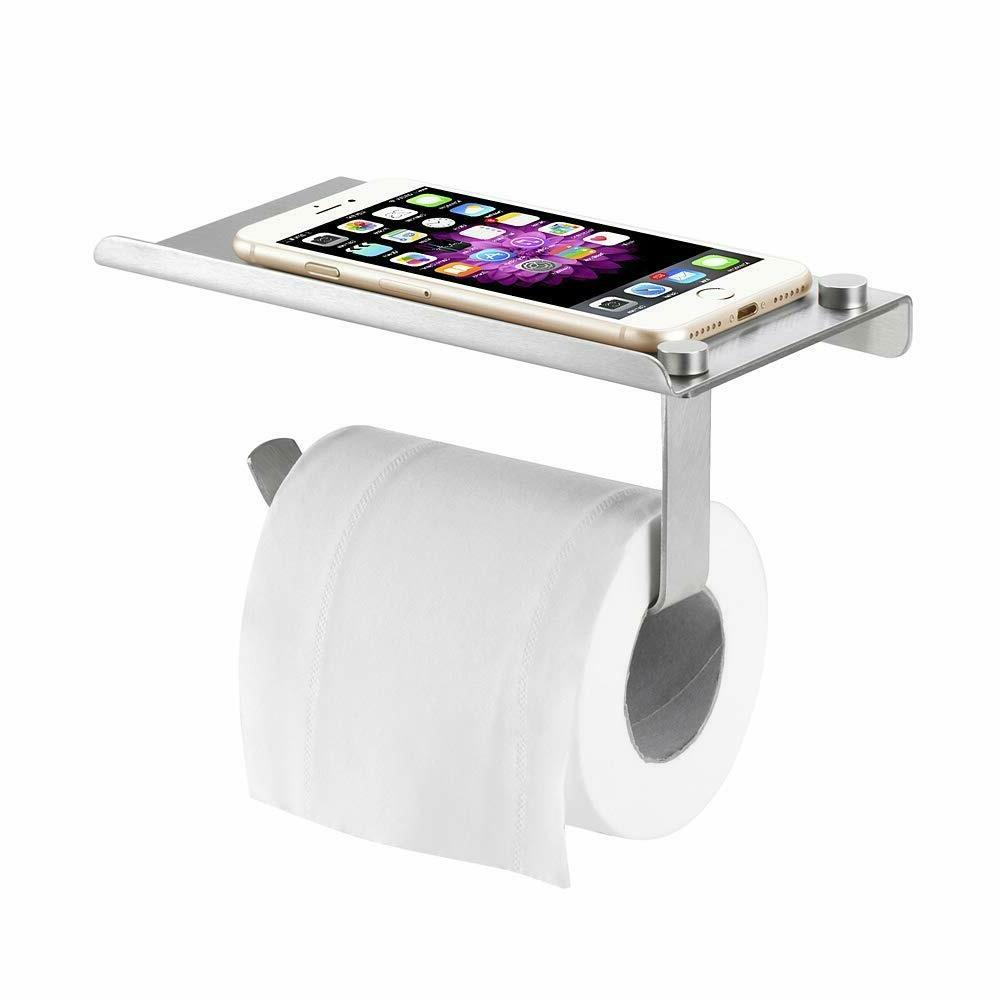1-Toilet Paper Holder with Mobile Shelf Holders Wall