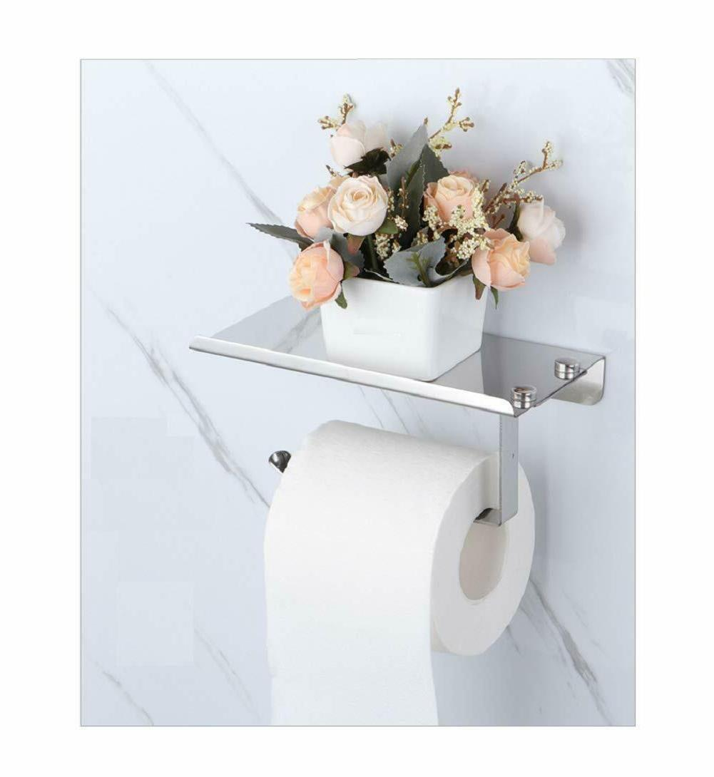 1-Toilet Paper Holder with Mobile Phone Holders Wall