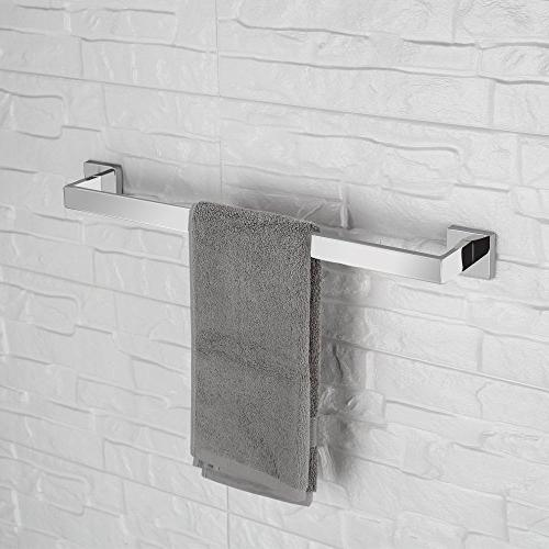 LuckIn Bathroom Set Stainless Steel, Polished Towel Wall Toilet Paper Holder Set with Robe Hook, Bathroom Accessory