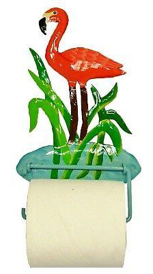Tropical Pink Flamingo Haitian Metal Art Toilet Paper or Han