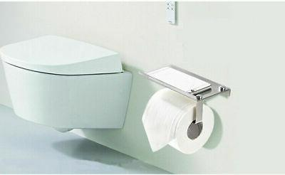 Wall Stainless Toilet Paper Mobile Holder with Shelf