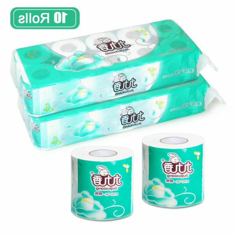 White 10 Rolls- Household Eco-Friendly Bathroom Tissue