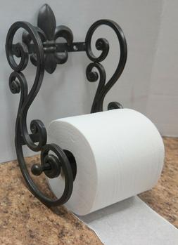 Large Decorative Black Metal Toilet Paper Roll Holder Wall M