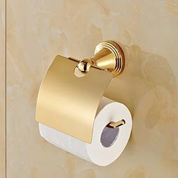 Rozin Luxury Gold Polished Roll Toilet Paper Holder Wall Mou