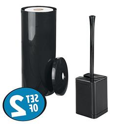 mDesign Bathroom Accessory Set, Toilet Tissue Canister, Bowl