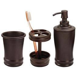 mDesign Metal Bathroom Vanity Countertop Accessory Set - Inc
