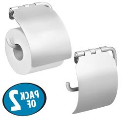 mDesign Toilet Paper Holder with Shelf for Bathroom - Wall M