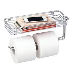 mDesign Toilet Paper Holder with Shelf for Bathroom Storage