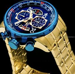 Invicta Mens Aviator Chronograph 18K Gold Plated Blue Dial S