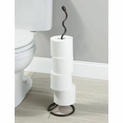 mDesign Metal Free Standing Toilet Paper Holder Stand, Holds