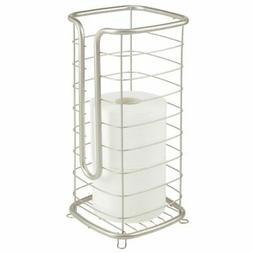 mDesign Metal Free Standing Toilet Paper Stand, Holds 3 Roll