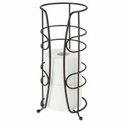 mDesign Metal Freestanding Toilet Paper Stand, Holds 4 Rolls