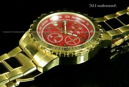 NEW Invicta Mens 18K Gold Plated Stainless St. Red Dial Chro