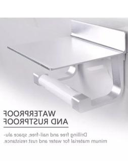 NEW HaloVa NO DRILL ALUMINUM MODERN TOILET PAPER HOLDER WITH