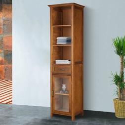 The Oak-finish Linen Tower Bathroom Storage Cabinet with Doo