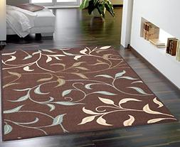 Ottomanson Ottohome Contemporary Leaves Design Modern Area R