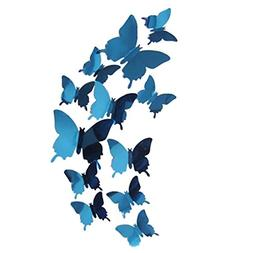 Amacok 12 PCS Removable Crystal Acrylic Mirror Butterfly Wal
