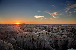 South Dakota Picture - Sunset on the Badlands - Landscape Wa