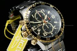 Invicta Specialty 18K Gold Plated Two Tone Black Dial Chrono