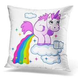 Breezat Throw Pillow Cover Pink Poop Smiling Unicorn Pooping