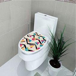 Toilet Cover Sticker,Indie,Eighties Memphis Fashion Style Ge