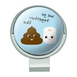 Toilet Paper and Poop Emoji Friends Golf Hat Clip With Magne